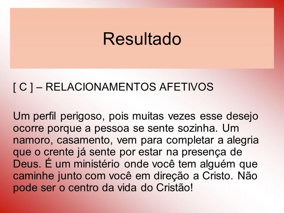 Resultado [ C ] – RELACIONAMENTOS AFETIVOS